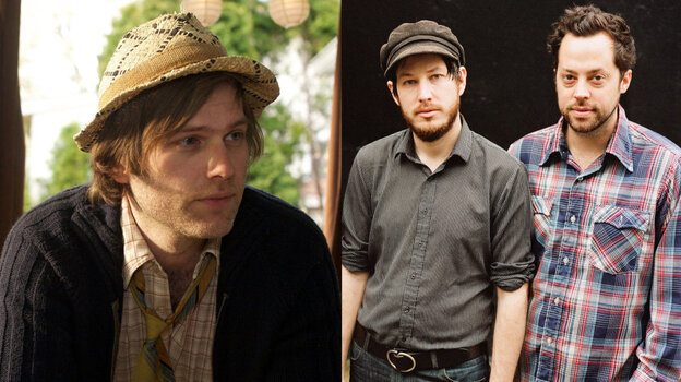Eric D. Johnson of Fruit Bats (left) and Vetiver (right) t