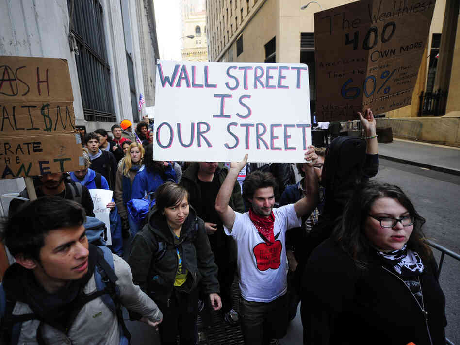 Participants demonstrate in the Occupy Wall Street protest.