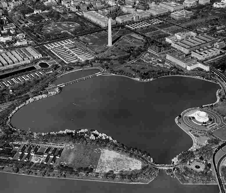 Aerial view of the tidal basin in Washington, D.C., taken in 1949.