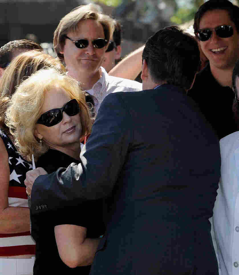 Anita Perry is increasingly stepping out from behind her husband, Republican presidential candidate and Texas Gov. Rick Perry. Wednesday she'll campaign solo in Iowa. Here they greeted supporters together during a rally on Sept. 8 in Newport Beach, Calif.