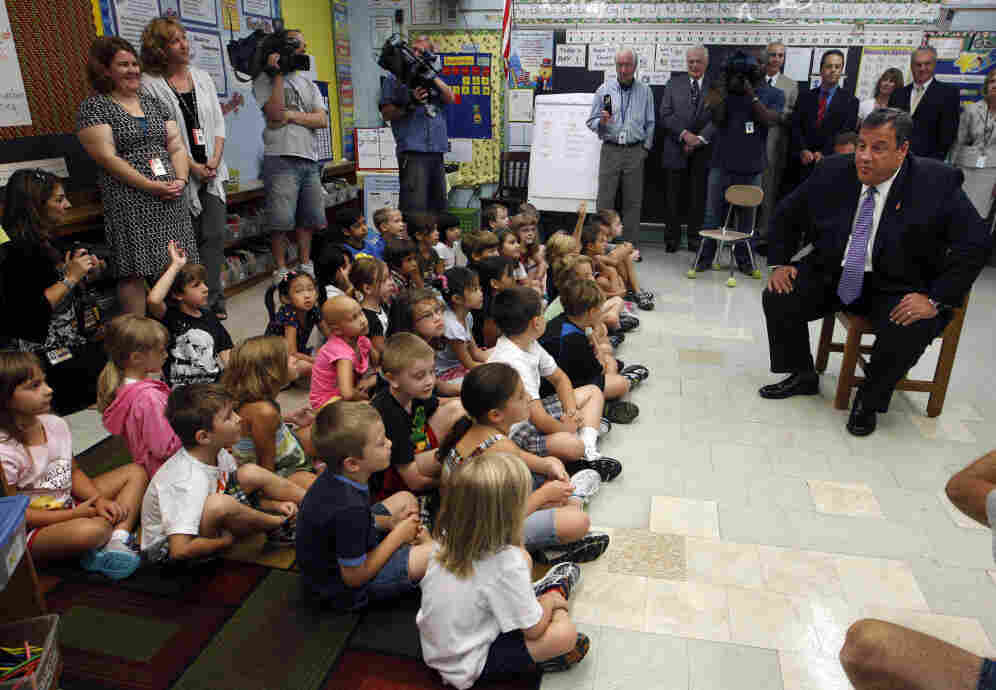 New Jersey Gov. Chris Christie chats with a group of first graders in Cherry Hill, N.J., Sept. 13, 2011.