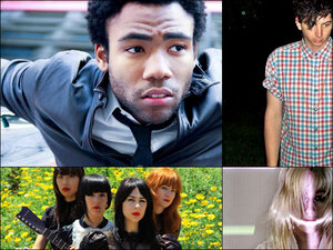 Clockwise from top right: Childish Gambino, Youth Lagoon, Zola Jesus, Dum Dum Girls.