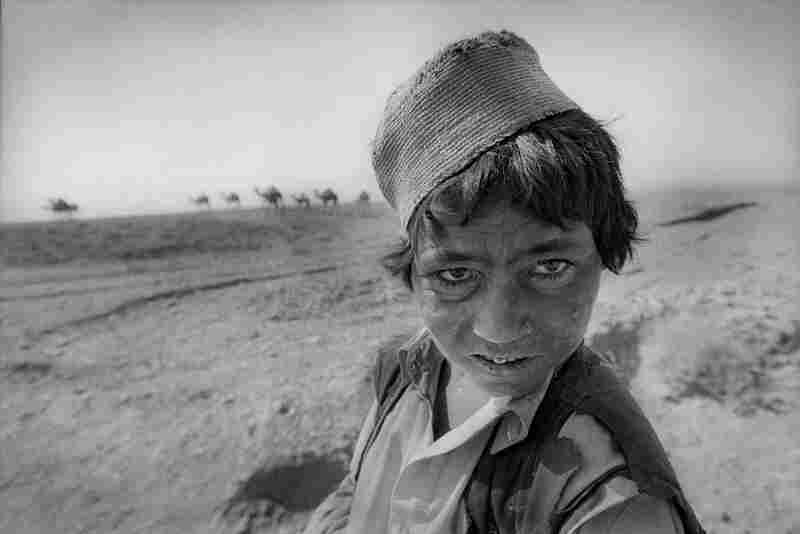 Camel herder Ajnabi Gul is eight years old. The wind and sun on the plains are ferocious, Herat Province, 2003.