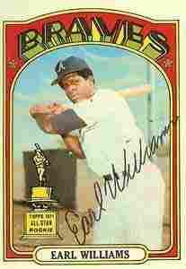 An autographed baseball card of Earl Williams from Baseball Almanac.