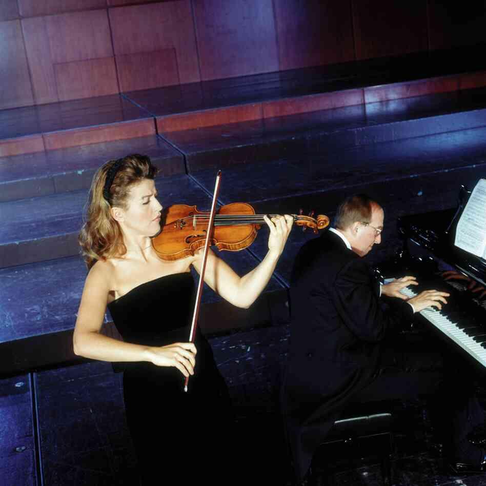 With her regular chamber music partner, Lambert Orkis, in 1996.