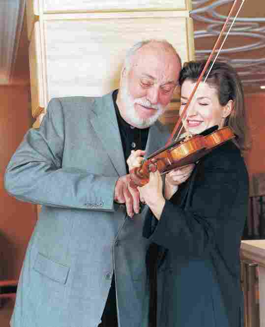 With conductor Kurt Masur, in New York, 2002.
