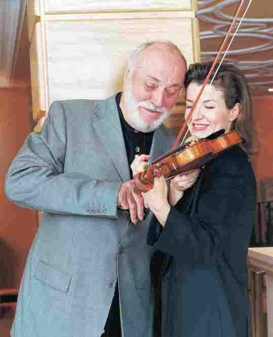 With conductor Kurt Masur, in New York, 2002.