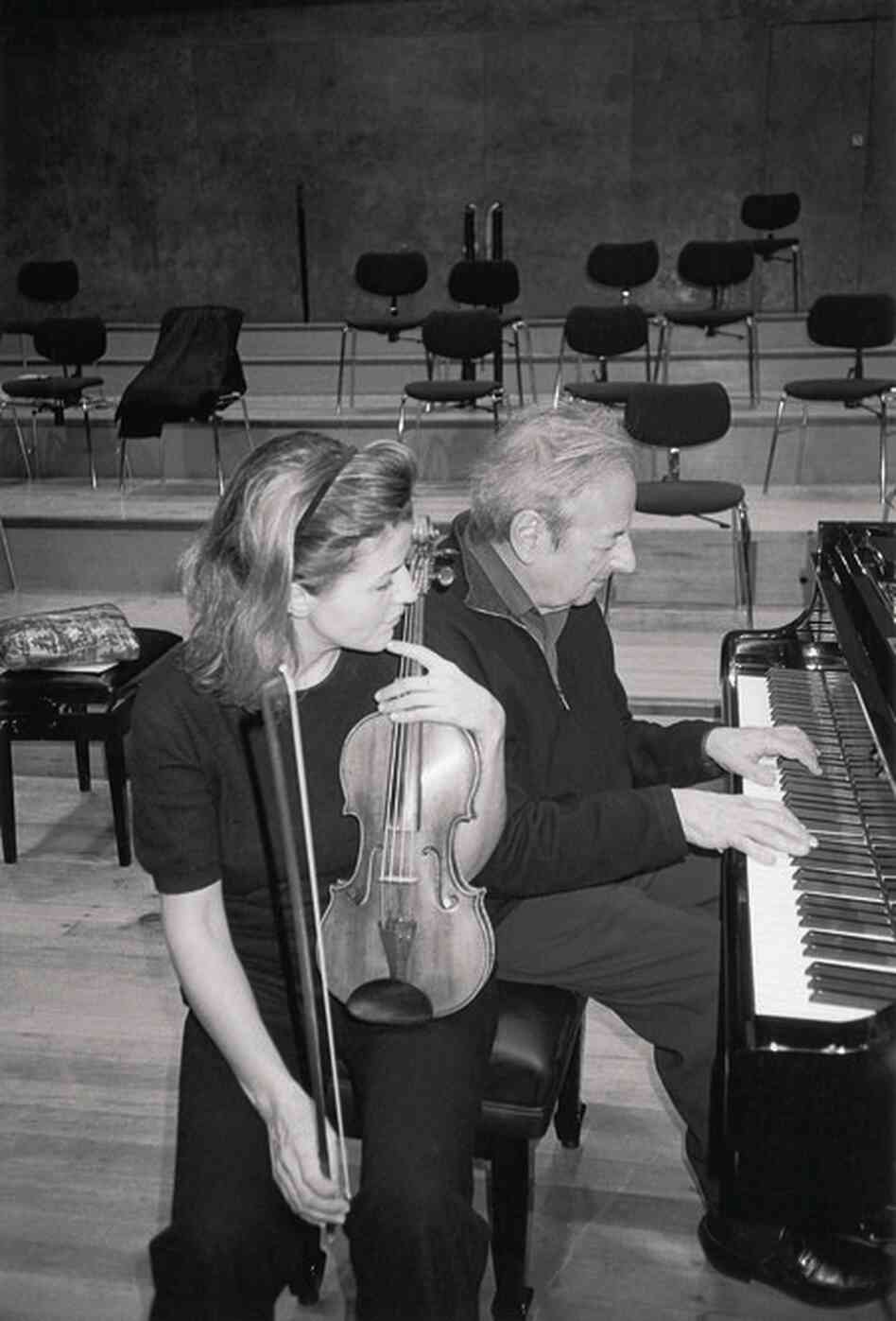 """Rehearsing the """"Tango, Song & Dance"""" sessions with Andre Previn."""