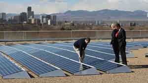 """On Feb. 17, 2009, the same day President Obama signed the first economic stimulus bill, Namaste Solar CEO Blake Jones gave Obama and Vice President Biden a tour of the solar panel installation at the Denver Museum of Nature and Science. In the 2 1/2 years since, says Jones, the stimulus """"did what it was supposed to do"""" in the solar sector. Still, he has had to lay off some workers."""