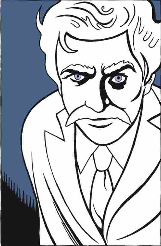 """Gaaaaaze into my mustache. Feel its powwwwer."" Art from Mark Twain's Autobiography: 1910-2010."