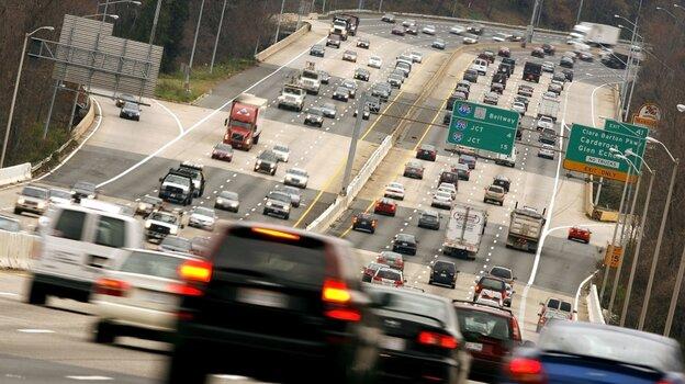 Traffic flows over the American Legion Bridge  along I-495, the Washington Beltway, between Virginia and Maryland.