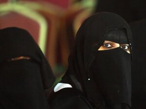 Saudi women attend the 'Spring Al-Riyadh' festival in Riyadh on April 8,  2008. In a country where strict Islamic doctrine demands segregation  and prevents women from driving or working and traveling freely, recent change suggests an increase of  freedoms for women.