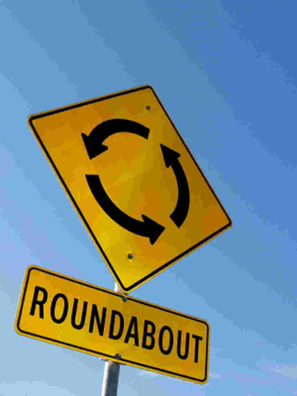 A roundabout road sign.