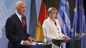 German Chancellor Angela Merkel and Greek Prime Minister George Papandreou spoke to the media before talks Tuesday in Berlin on Greece's economic crisis.