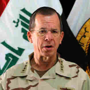 U.S. Chairman of Joint Chiefs of Staff Admiral Michael Mullen speaks during a press conference in Baghdad on Aug. 2,  during a visit to press top Iraqi officials to make a decision on the future of the U.S. troop presence in Iraq.