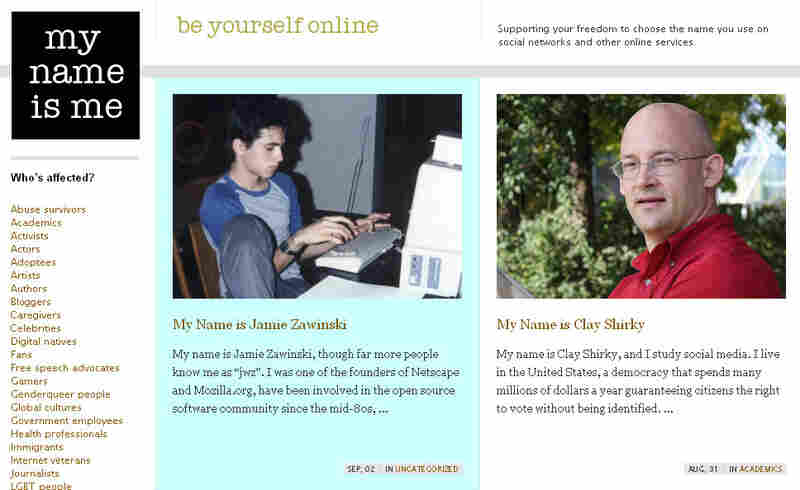 Screen grab of My Name Is Me website.