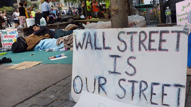 """At the """"Occupy Wall Street"""" demonstration in the financial district near"""