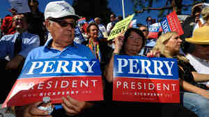 "Supporters of Republican presidential candidate Rick Perry attend a rally earlier this month in Newport Beach, Calif. Though some Republican voters have doubts about Perry, recent polls show it's not because of his stance on Social Security, which he's called a ""Ponzi scheme."""