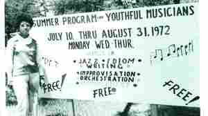 A sign for Bubbha Thomas' free jazz classes, taken in 1972.