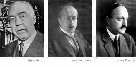 Left to right: Niels Bohr, Max Von Laue, and James Franck