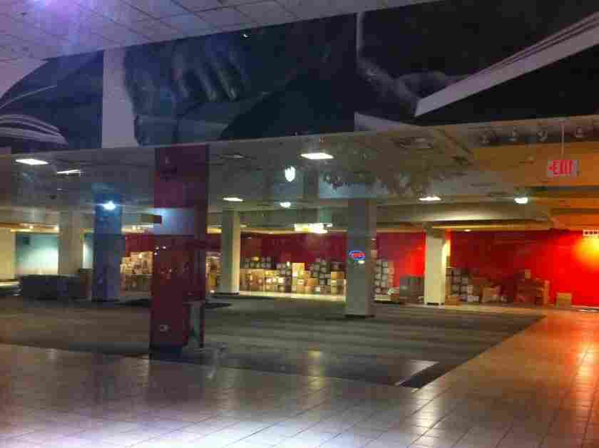 Once full of books, shelves, workers and readers, this Borders in Silver Spring, Md., is now just a grand empty space.