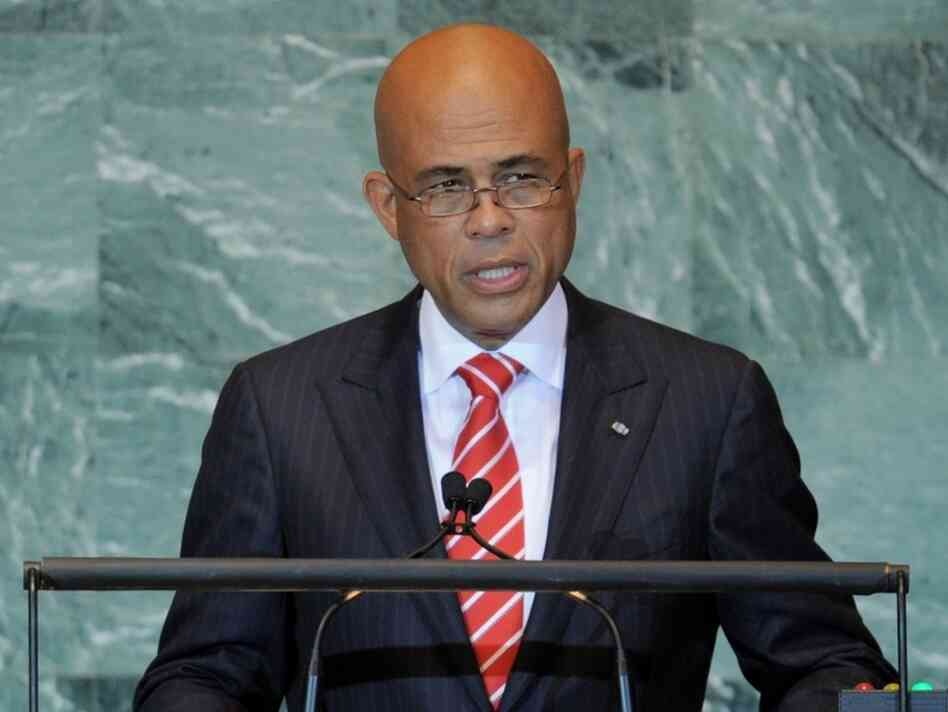Michel Joseph Martelly, President of Haiti, speaks during the United  Nations General Assembly Sept. 23, 2011 at UN headquarters in New  York.