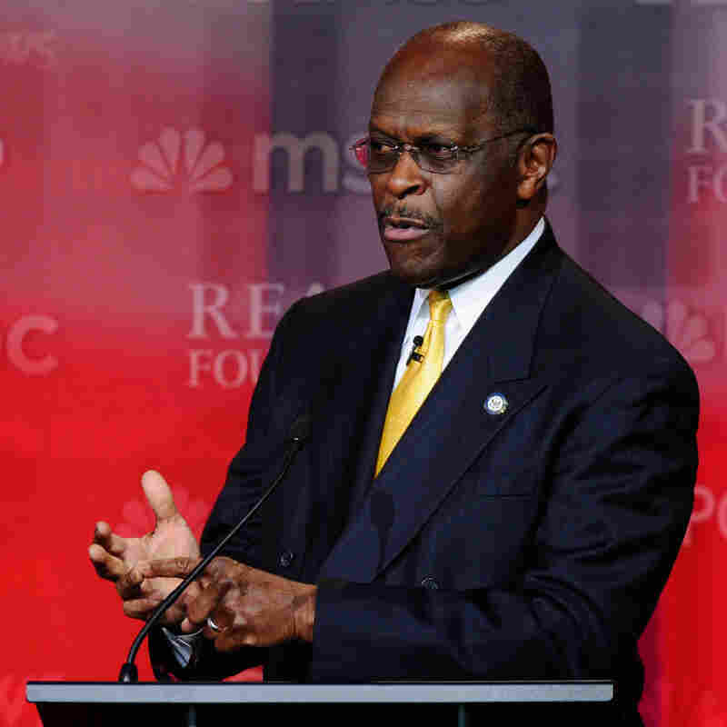 Republican presidential candidate Herman Cain during a Sept. 7 debate at the Ronald Reagan Presidential Library.