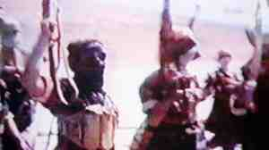June 2001: al-Qaida members training in Afghanistan (frame grab from an al-Qaida video).