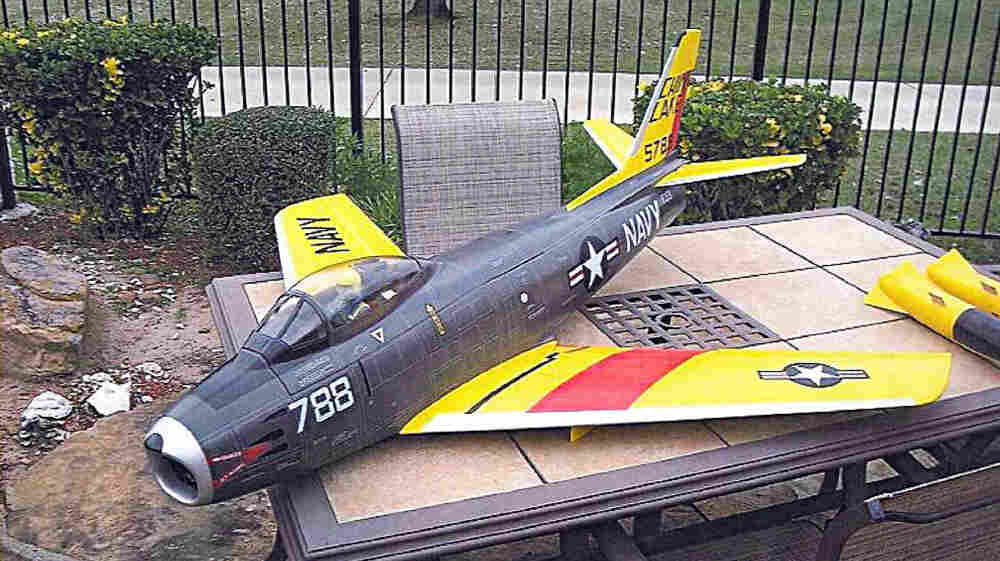 According to the United States Attorney's Office, District of Massachusetts, this is the remote controlled model of a US Navy's 1950s Sabre jet fighter that allegedly belonged to Rezwan Ferdaus.
