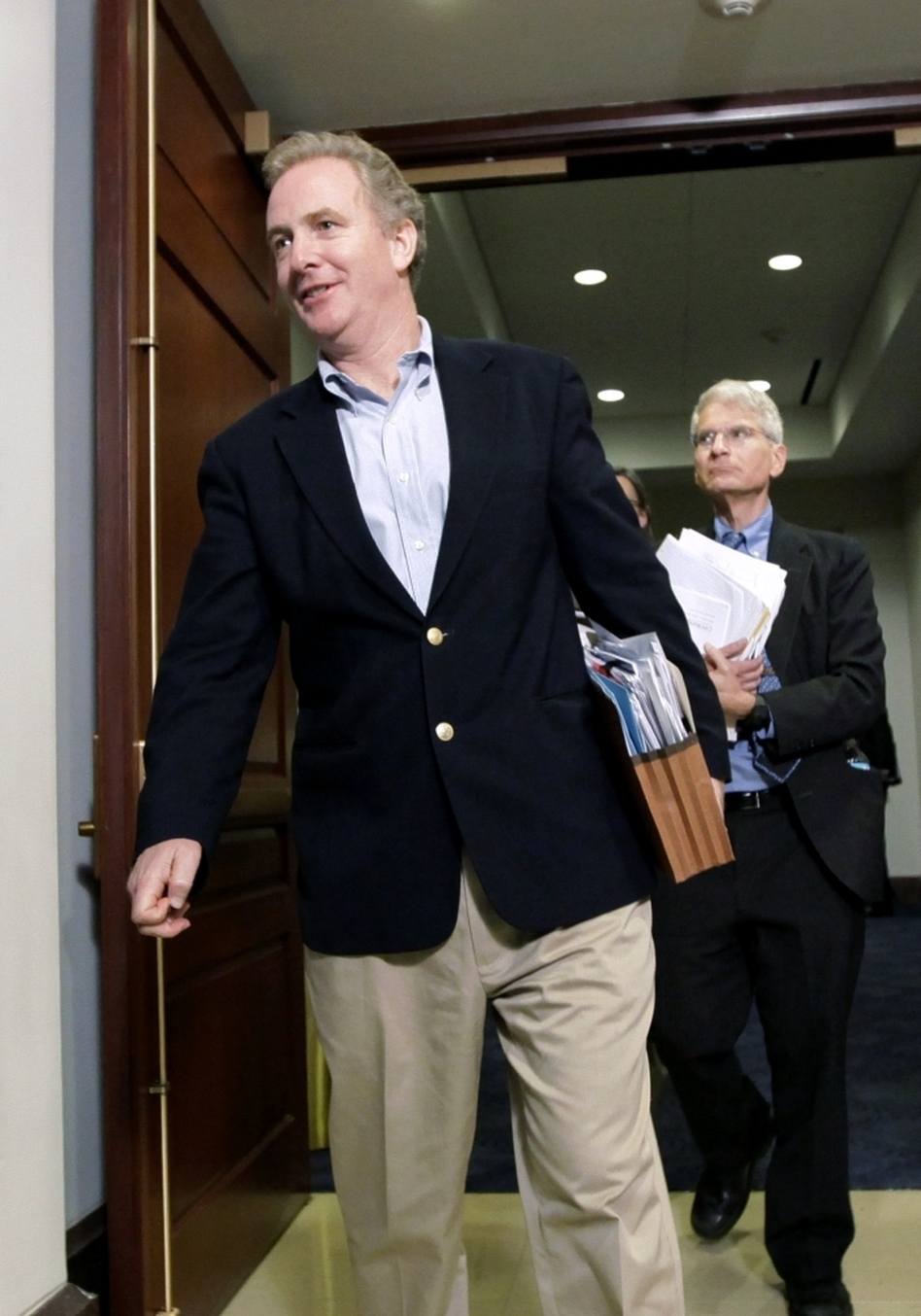 "Rep. Chris Van Hollen (D-MD), pictured here on Tuesday, was one of a few House members present Thursday to vote to keep the government funded till next week. ""Once you get to yes, things can move quickly,"" he says."