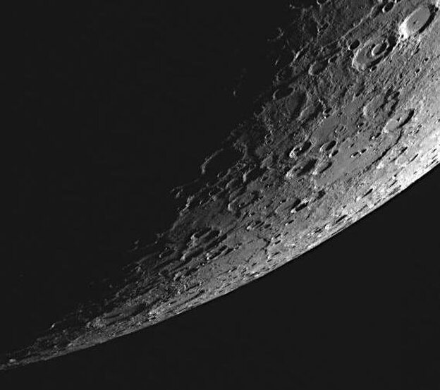 This dramatic view was captured as the spacecraft's highly elliptical orbit positioned MESSENGER high above Mercury's southern hemisphere.