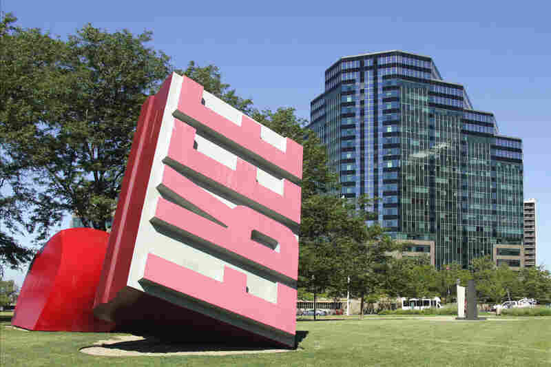 Oldenburg and van Bruggen's Free Stamp sits in Willard Park in Cleveland.