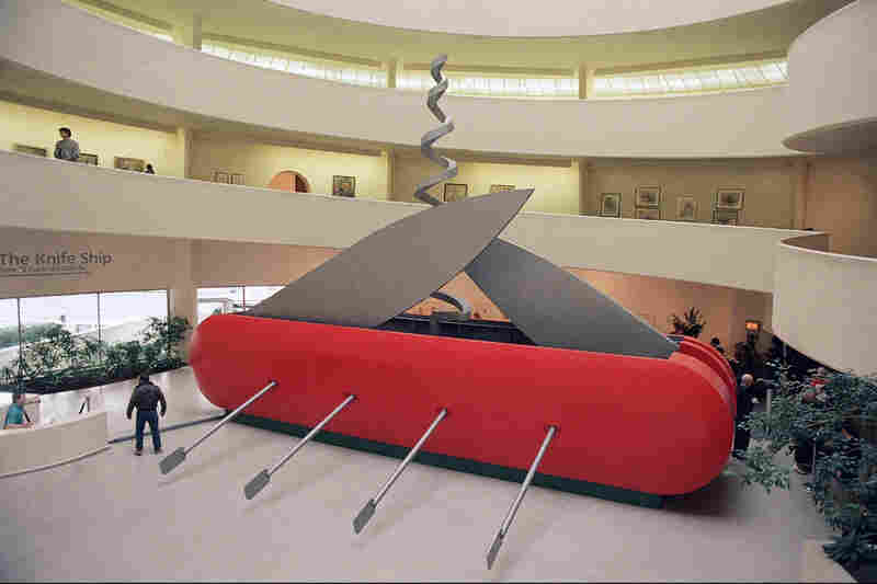 "Oldenburg's Il Corso del Coltello, or ""The Knife Ship,"" is an electric-powered Swiss Army knife that's about 40-feet long with blades and a corkscrew that are continuously in motion. It was shown at the Guggenheim Museum in New York in 1986."