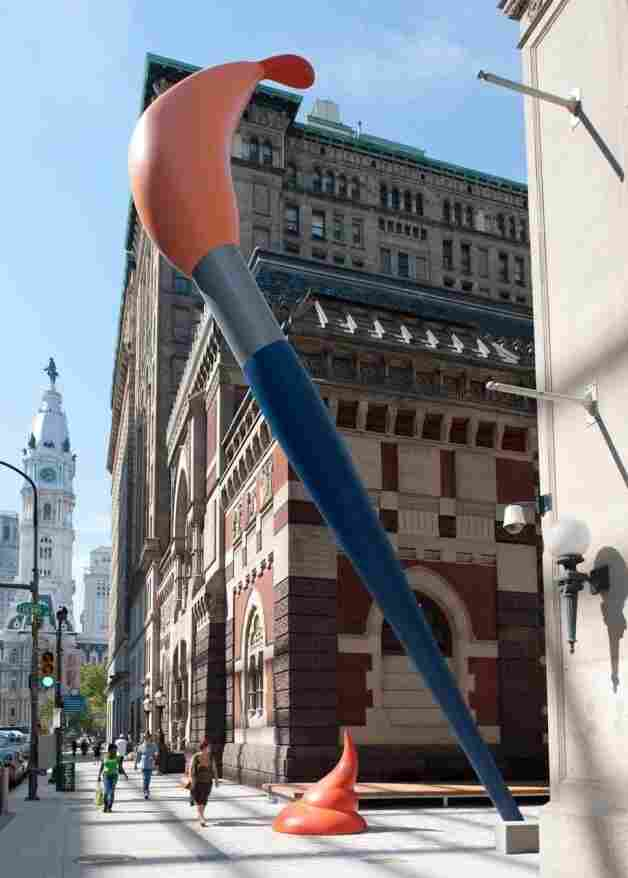 Oldenburg's 50-foot-tall Paint Torch towers over pedestrians at the Pennsylvania Academy of the Fine Arts.