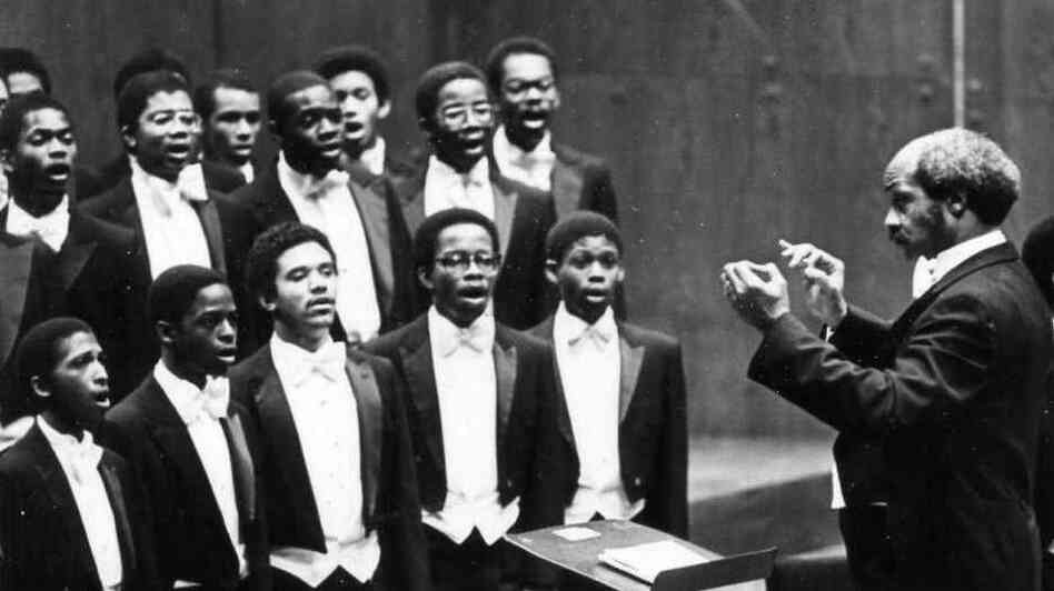 The Morehouse College Glee Club in performance in 1981. Wendall Whalum, at right, was the second of only three directors of the club in its 100 years of existence.