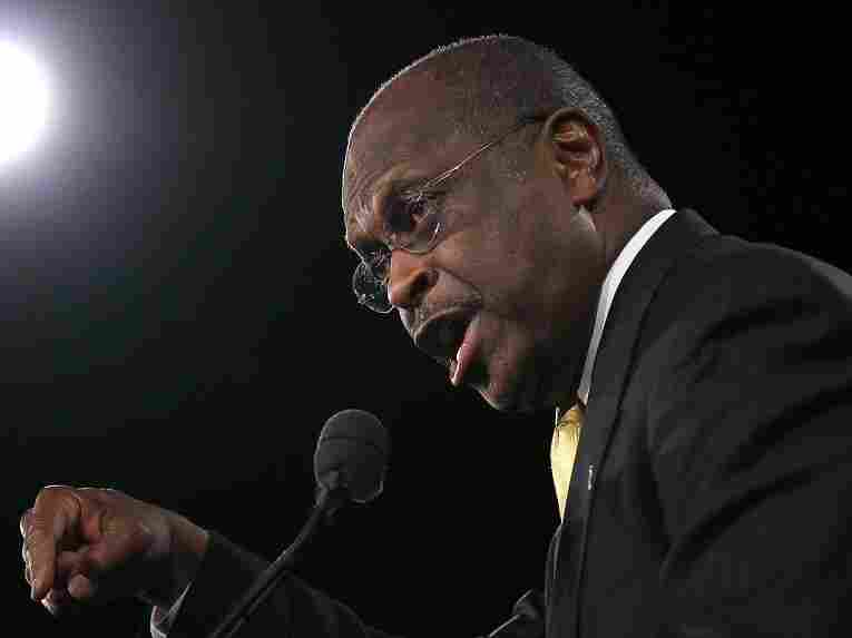 Republican presidential candidate Herman Cain speaks prior to Florida's  President 5 straw poll on  Sept. 24, 2011 in Orlando, Florida. Cain won the straw poll with  37.11% of the vote.