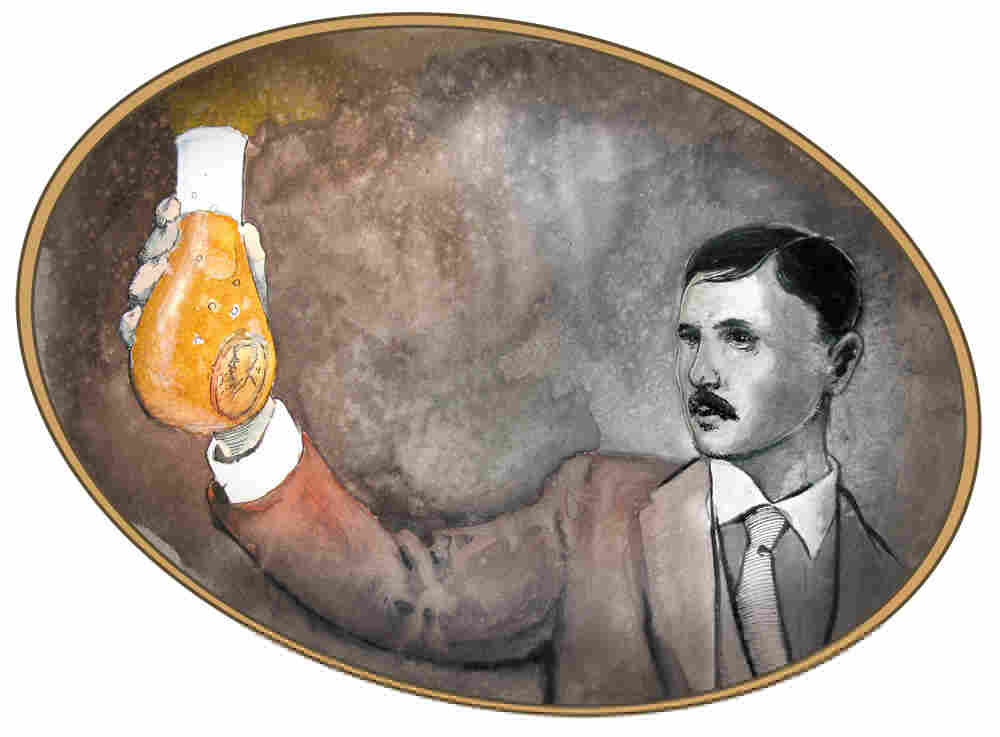 Drawing of Bohr dissolving gold in a flask.