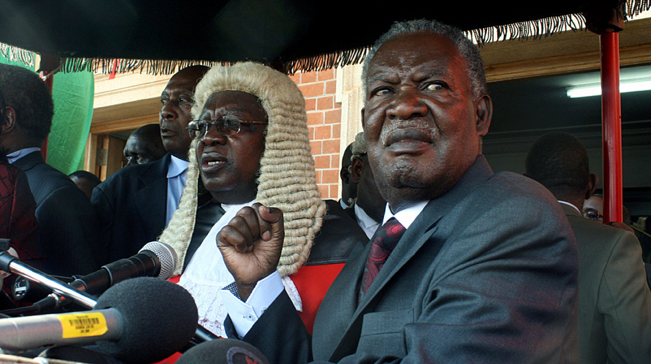Zambia's newly elected President Michael Sata (right), a long-time opposition figure, is shown at his swearing in ceremony in Lusaka on Sept. 23. Seventeen of the 49 sub-Saharan nations in Africa are holding elections this year.