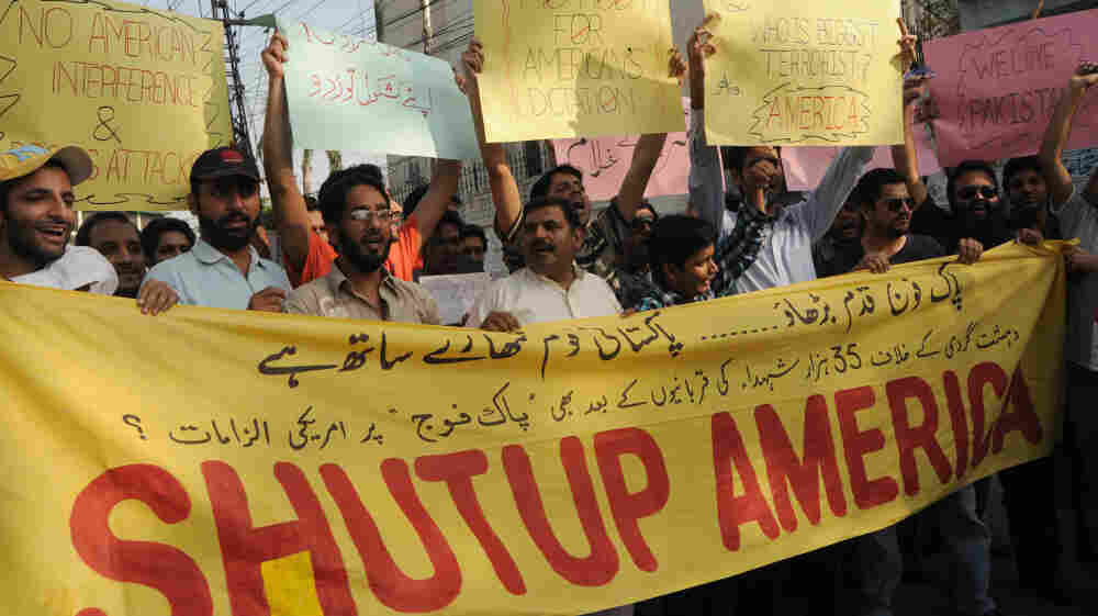 Pakistani protesters shout slogans during a recent anti-U.S.  demonstration in Lahore. Relations between the two countries are tense amid claims that Pakistan is aiding militant networks.