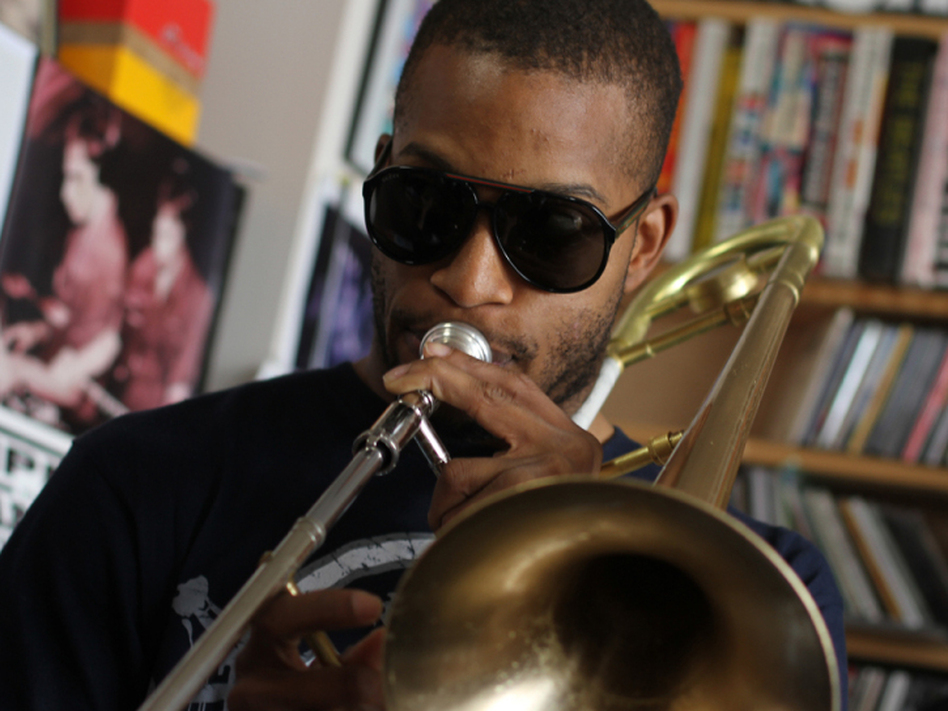 <p>Trombone Shorty at the NPR Music office.</p>