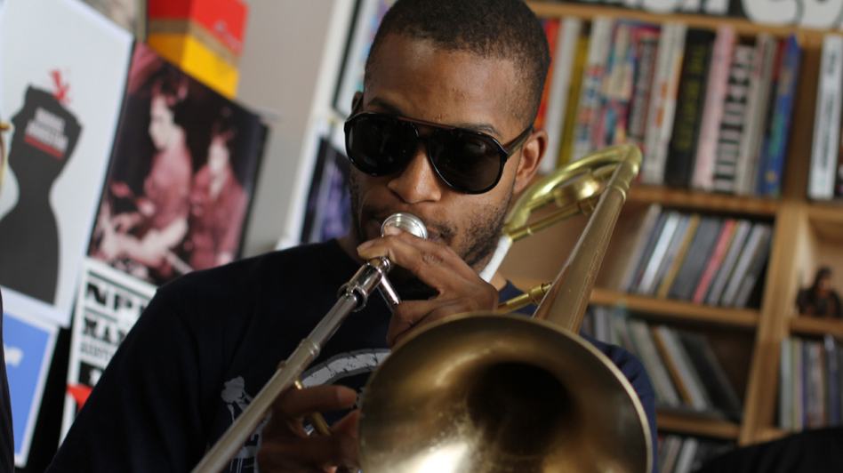 Trombone Shorty at the NPR Music office. (NPR)