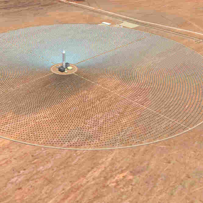 An artist rendering released by SolarReserve shows what will be the Crescent Dunes Solar Energy Project, a solar generating facility that is being constructed northwest of Tonopah, Nev. CEO Kevin Smith says his project isn't a risky investment for taxpayers.