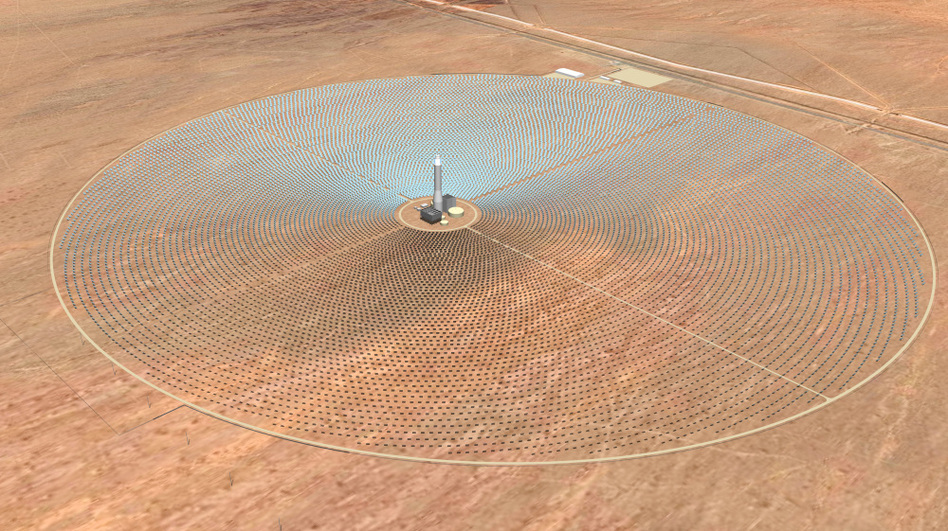 <p>An artist rendering released by SolarReserve shows what will be the Crescent Dunes Solar Energy Project, a solar generating facility that is being constructed northwest of Tonopah, Nev. CEO Kevin Smith says his project isn't a risky investment for taxpayers.</p>