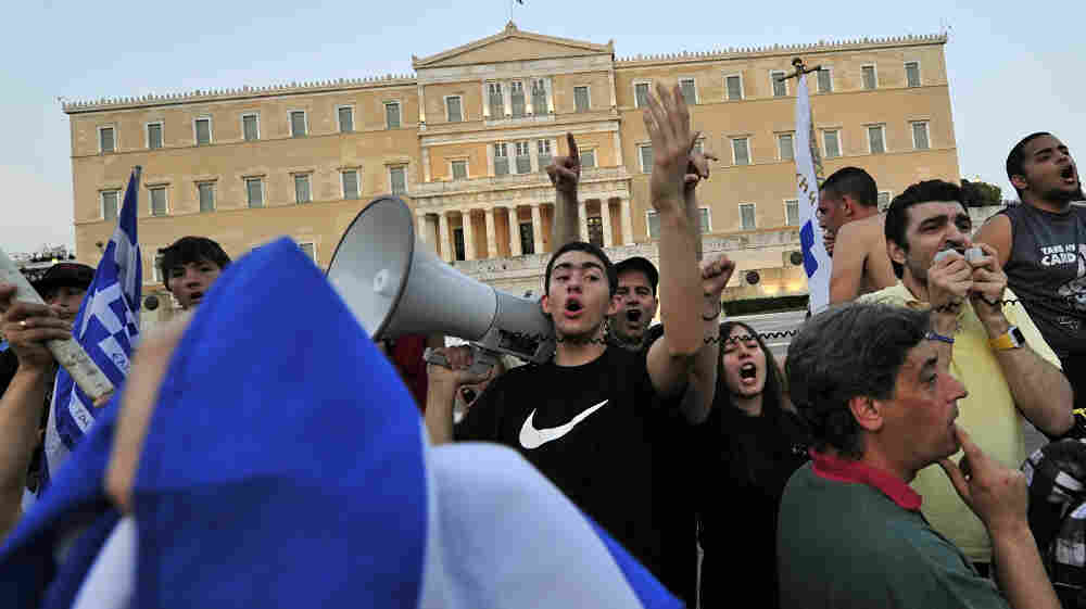 In June, youth demonstrators in Greece protested against the country's new austerity package. The package was passed as a condition set by the European Union and IMF for release of a  bailout to help Greece's ailing economy.