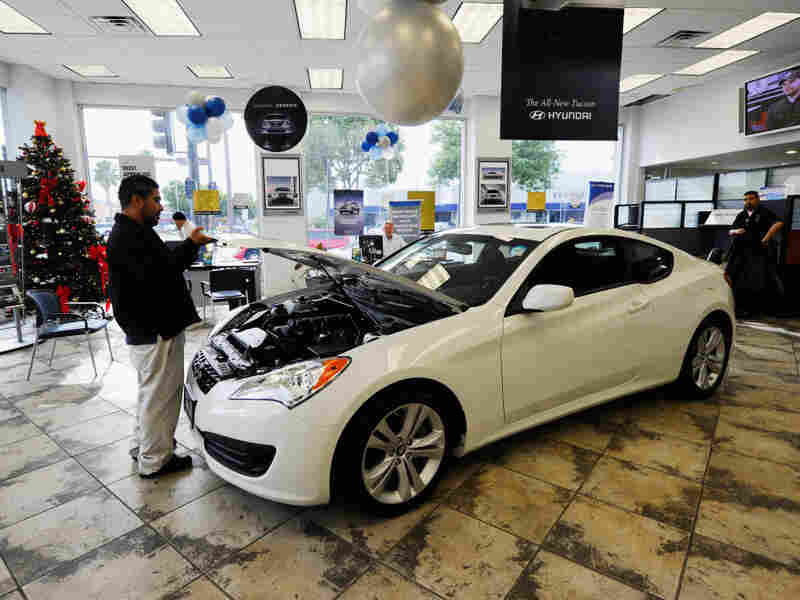 A Hyundai Genesis Coupe is on display in a showroom in Glendale, Calif., last January.