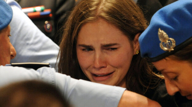 Amanda Knox weeps in an Italian appeals court as her murder verdict is overturned. In 2009, Knox was found guilty of charges stemming from the stabbing death of fellow student Meredith Kercher in Perugia, Italy.