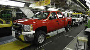 The General Motors Silverado and GMC Sierra heavy-duty pickups assembly line in Flint, Mich..