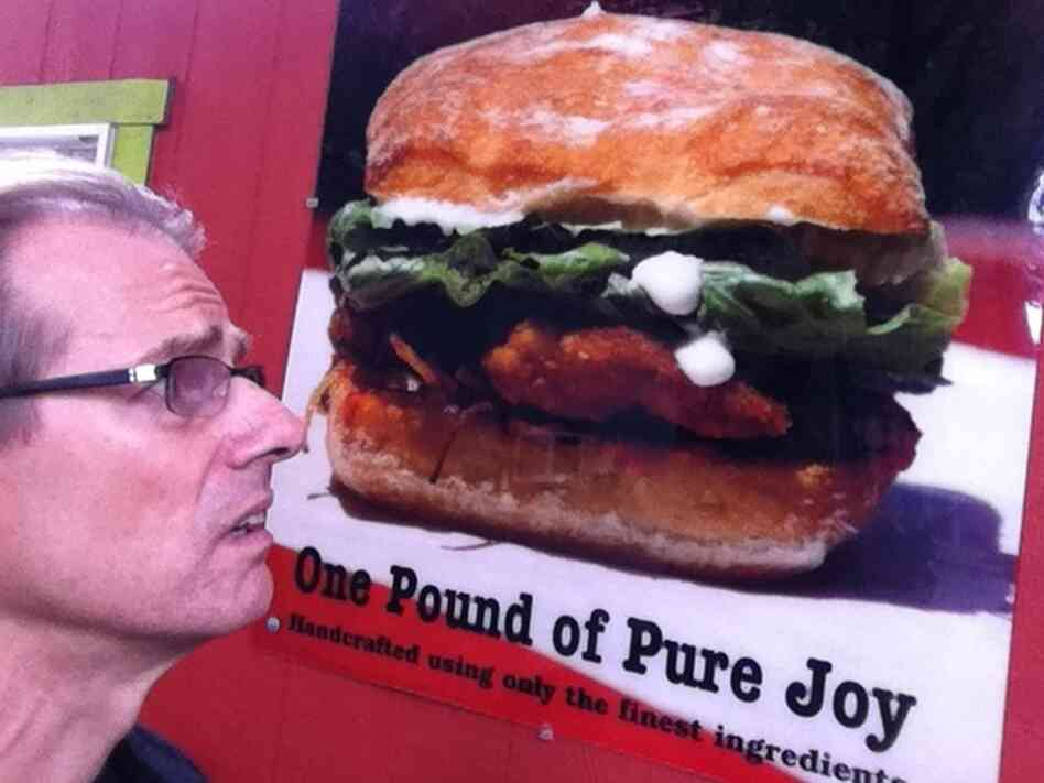 Sandwich is actual size. But Robert has a small head, so it's not that ...