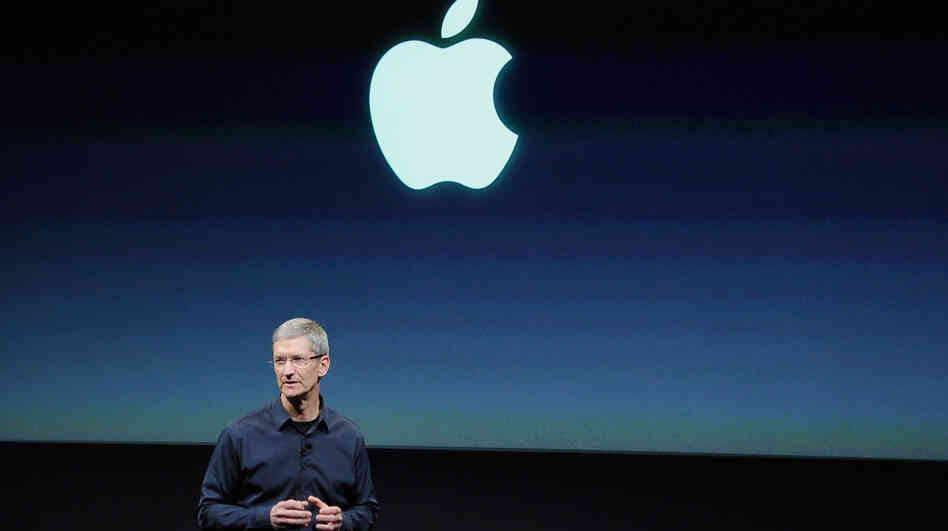 Apple CEO Tim Cook speaks at the event introducing the new iPhone.