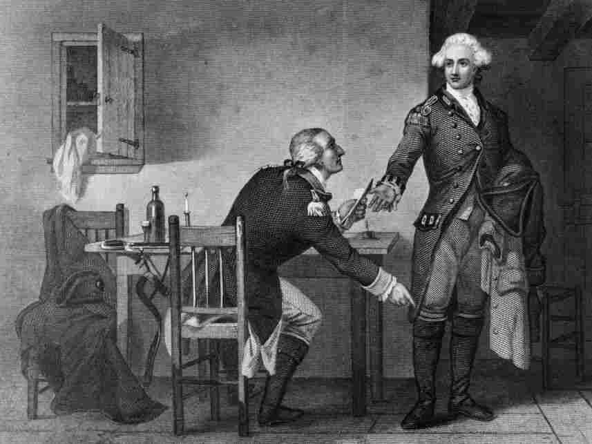 American turncoat Benedict Arnold persuades Maj. John Andre to conceal papers in his boot and send them to the British to enable them to capture West Point in this print by C.F. Blauvelt and W. Wellstood circa 1785.